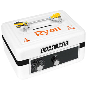 Personalized White Cash Box with Construction design
