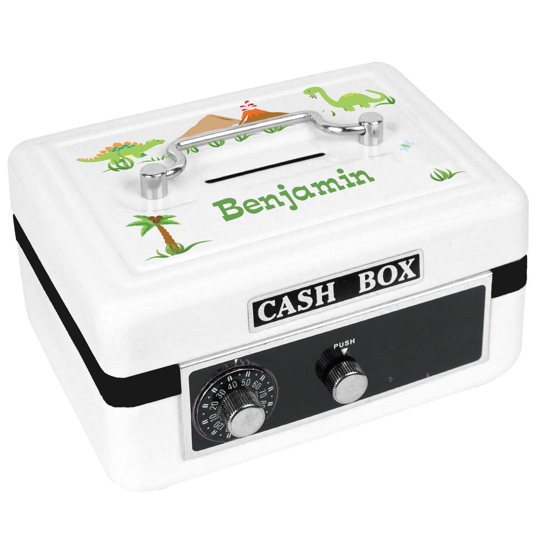 Personalized White Cash Box with Dinosaurs design