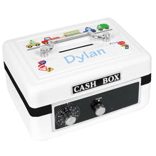 Personalized White Cash Box with Cars and Trucks design