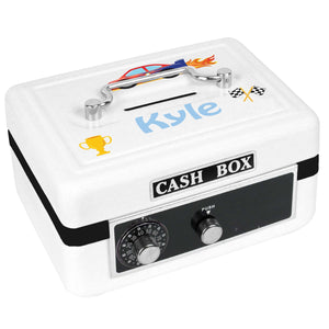 Personalized White Cash Box with Race Cars design