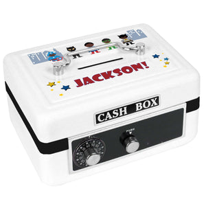 Personalized White Cash Box with Superhero African American design