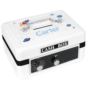 Personalized White Cash Box with Rocket design