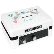 Personalized White Cash Box with Hot Air Balloon design