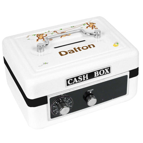Personalized White Cash Box with Monkey Boy design