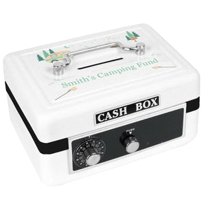 Personalized White Cash Box with Camp Smores design