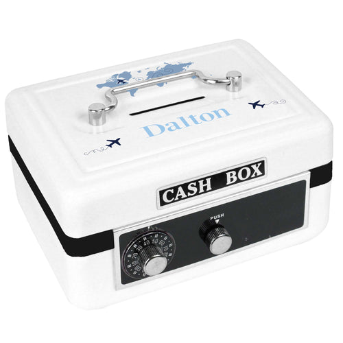 Personalized White Cash Box with World Map Blue design