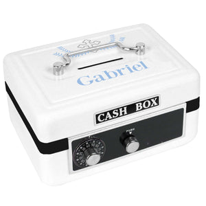 Personalized White Cash Box with Cross Garland Lt Blue design