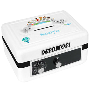 Personalized White Cash Box with Small World design