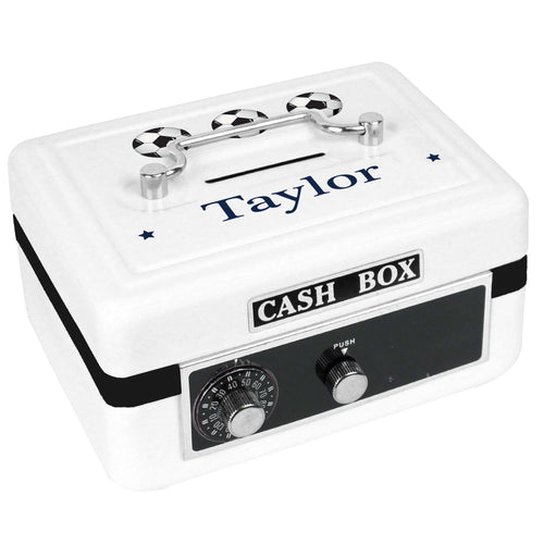 Personalized White Cash Box with Soccer Balls design