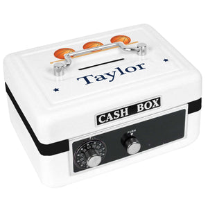 Personalized White Cash Box with Basketballs design