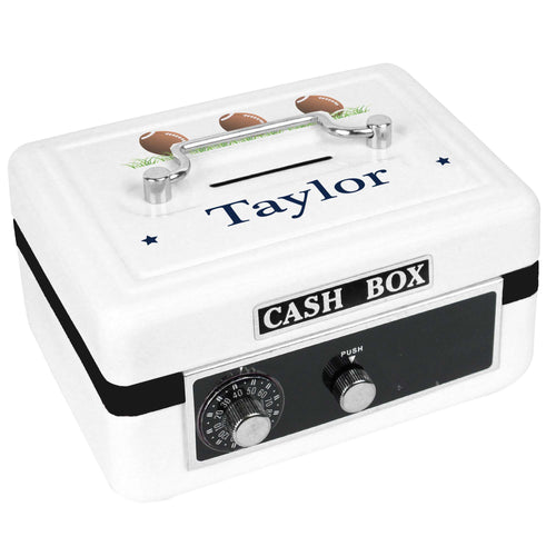 Personalized White Cash Box with Footballs design