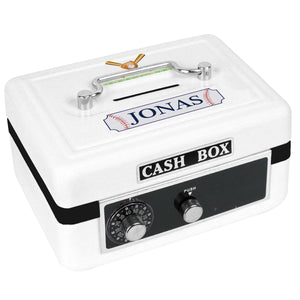 Personalized White Cash Box with Baseball design
