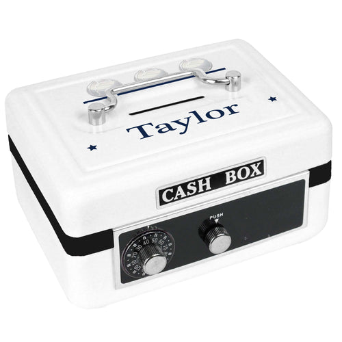 Personalized White Cash Box with Volley Balls design