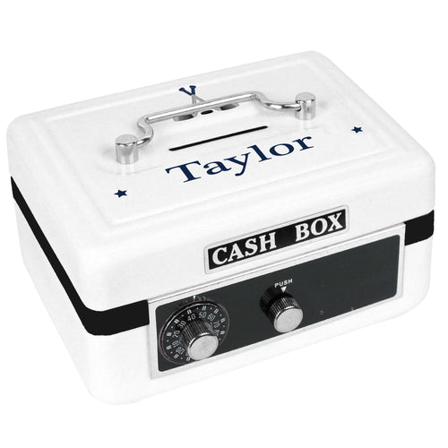 Personalized White Cash Box with Ice Hockey design