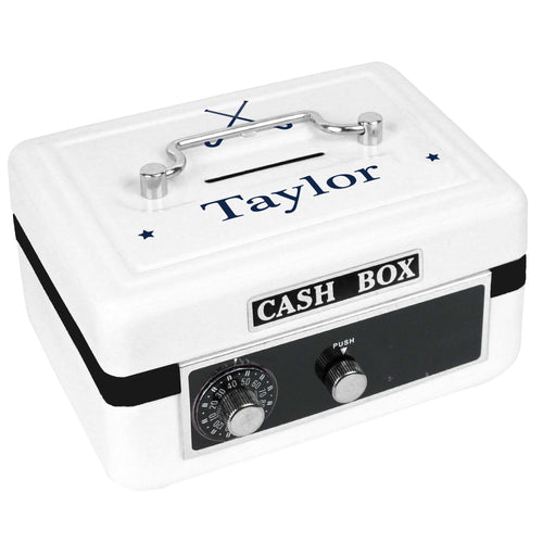 Personalized White Cash Box with Field Hockey design