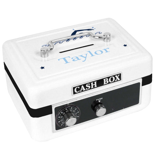 Personalized White Cash Box with Swim design