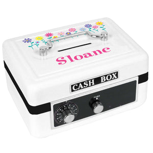Personalized White Cash Box with Stemmed Flowers design