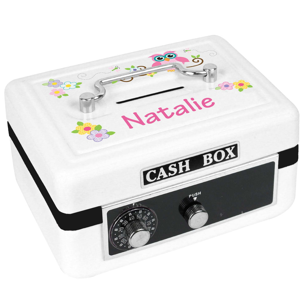 Personalized White Cash Box with Pink Owl design