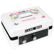 Personalized White Cash Box with Bright Butterflies Garland design