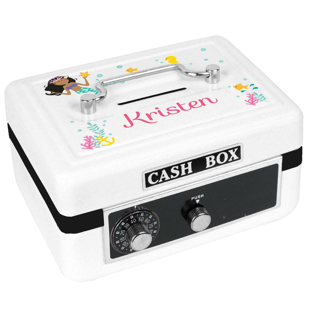 Personalized White Cash Box with African American Mermaid Princess design