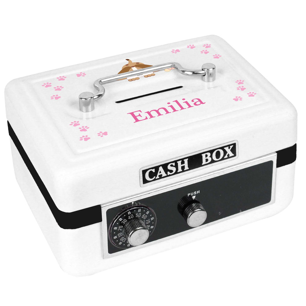 Personalized White Cash Box with Pink Puppy design