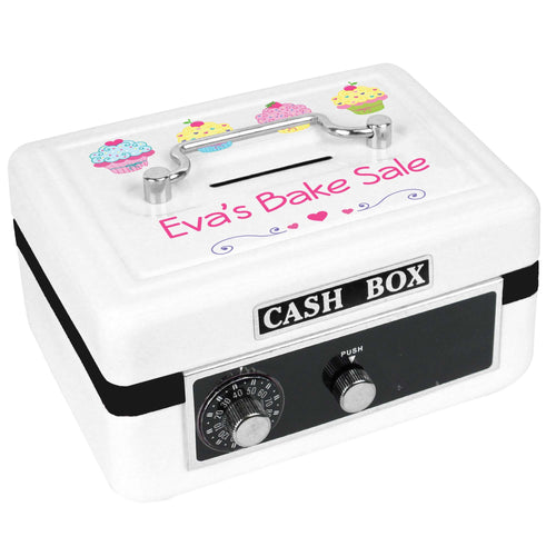 Personalized White Cash Box with Cupcake design