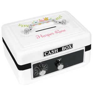Personalized White Cash Box with Spring Floral design