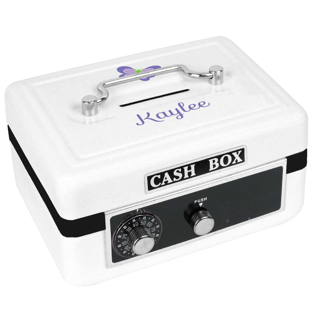 Personalized White Cash Box with Single Butterfly design
