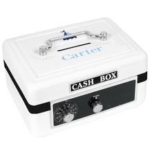 Personalized White Cash Box with Single Sailboat design
