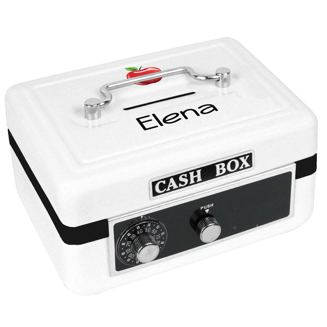Personalized White Cash Box with Single Apple design