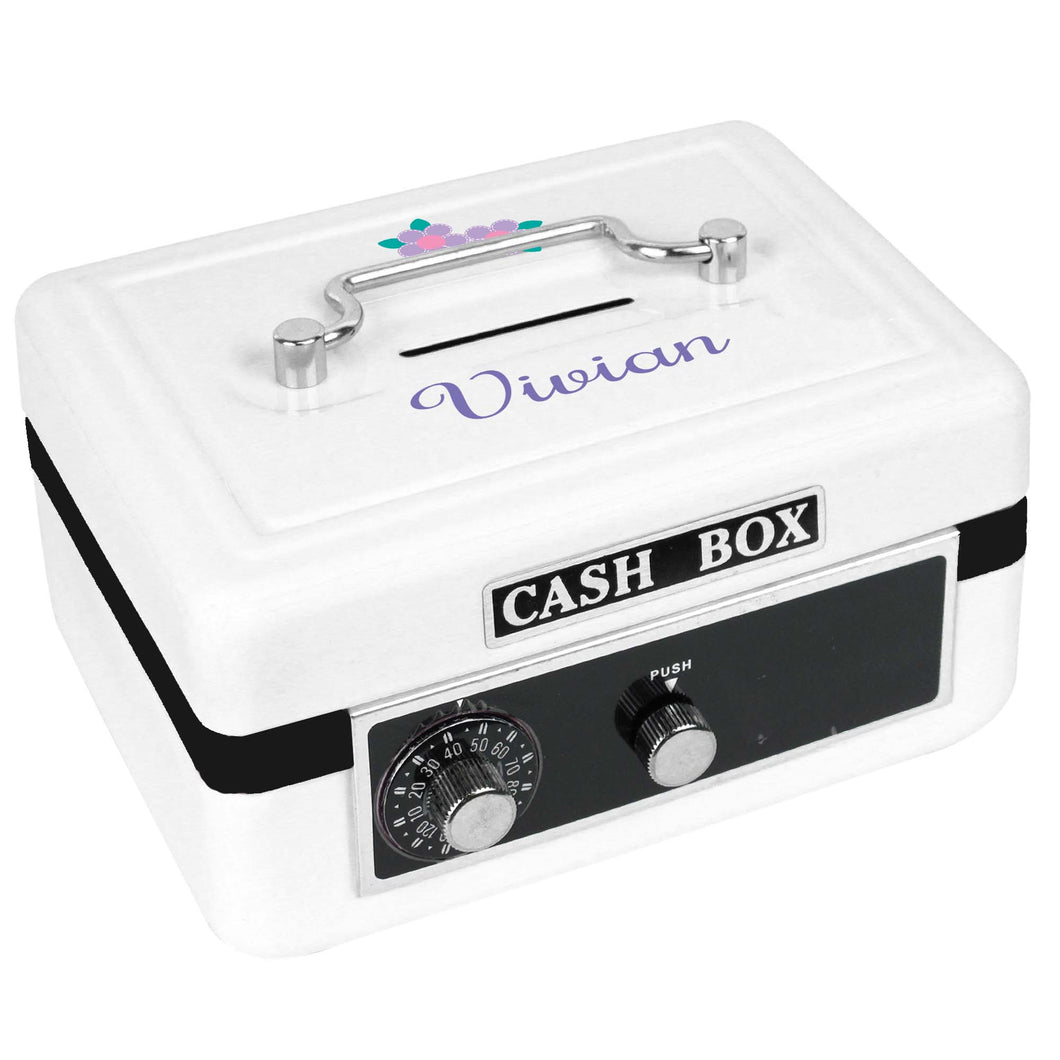 Personalized White Cash Box with Single Flower design