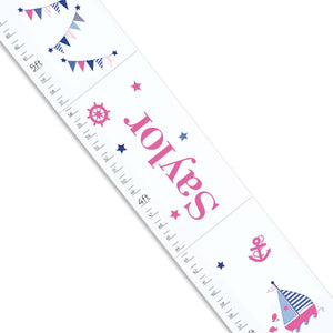 Personalized White sailboat Growth Chart ruler