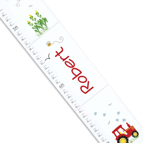 Personalized White Growth Chart With Tractor Red Design Design