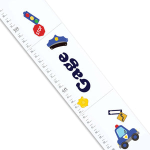 Personalized White Growth Chart With Police Design