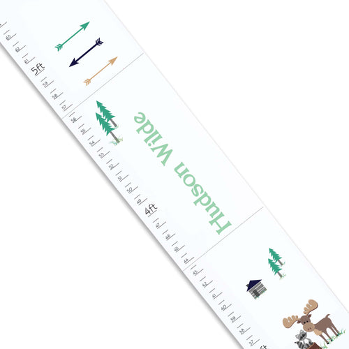 Personalized White Growth Chart With North Woodland Design