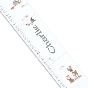 Personalized White Growth Chart With Woodland Gray Design