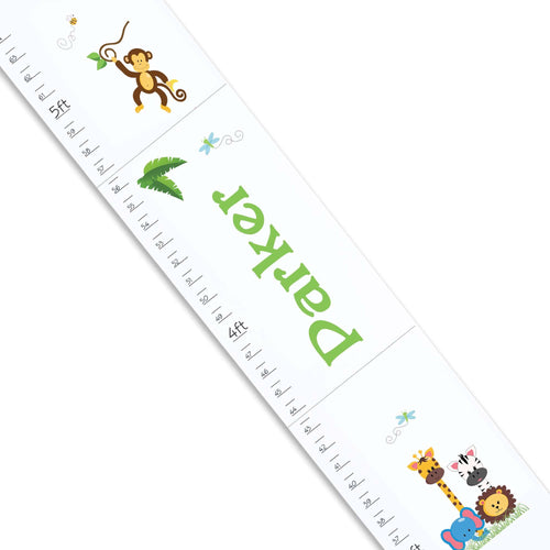 Personalized White Childrens Growth Chart with Jungle Animals Boy design