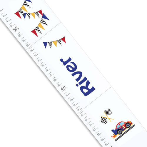 Personalized White Growth Chart With Race Cars Design