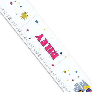 Personalized White Growth Chart With Super Hero Girl Design