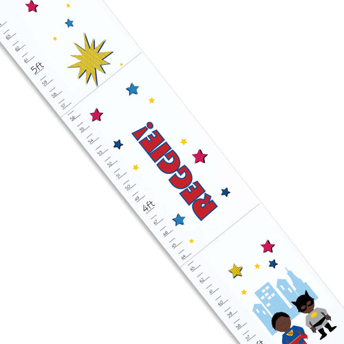Personalized White Growth Chart With Superhero African American Design