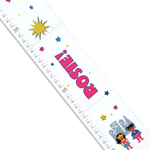 Personalized White Growth Chart With Supergirls African American Design