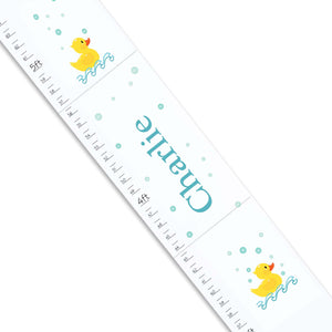 Personalized White Growth Chart With Rubber Ducky Design