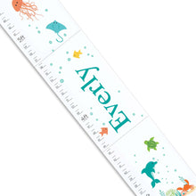 Personalized White Growth Chart With Under The Sea Design