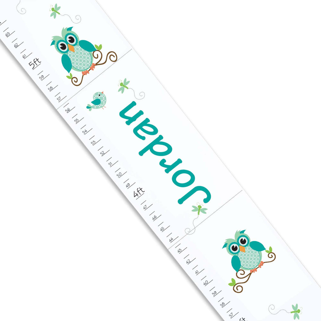 Personalized White Growth Chart With Gingham Owl Design