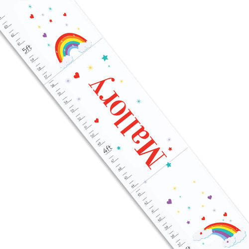 Personalized White Growth Chart With Rainbow Primary Design
