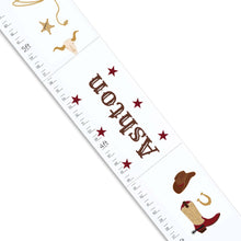 Personalized White Growth Chart cowboy
