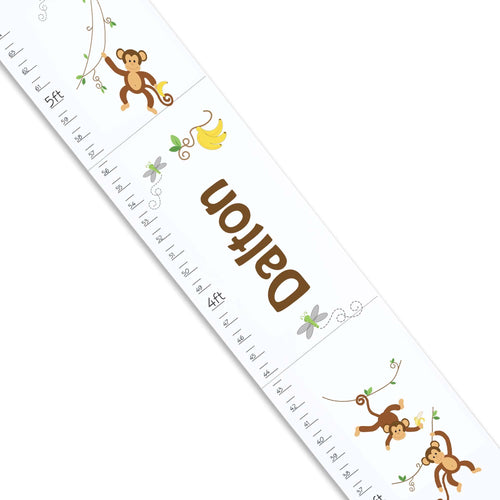 Personalized White Growth Chart With Monkey Boy Design