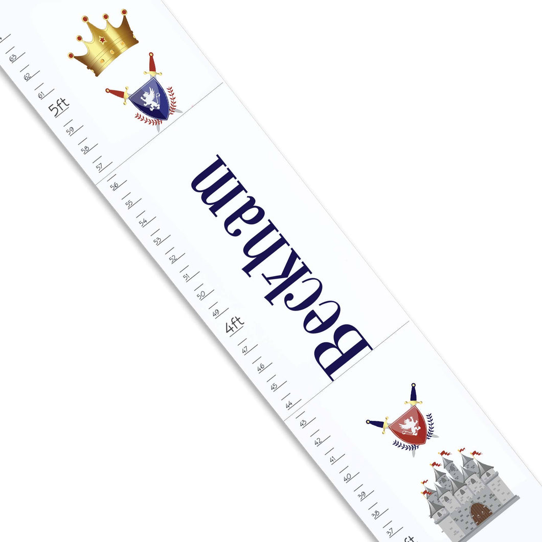 Personalized White Growth Chart With Medival Castle Design