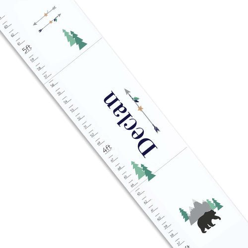 Personalized White Growth Chart With Mountain Bear Design