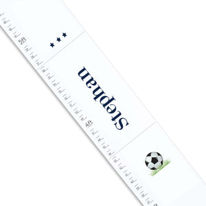 Personalized White Growth Chart With Soccer Design
